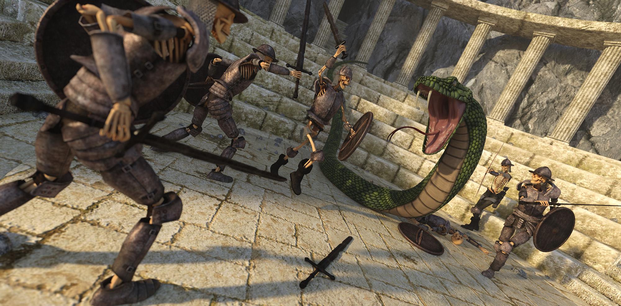 Skeletons vs Snake - Predatron 3D Models