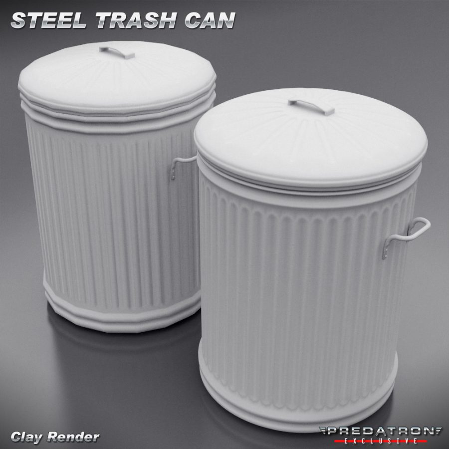 Steel Trash Can - Predatron 3D Models and Resources