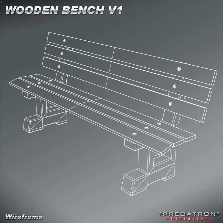 Wooden Bench V1 - Predatron 3D Models and Resources