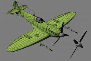 Spitfire 3D model WIP